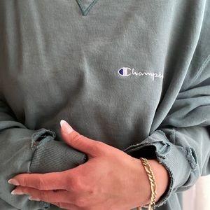 Vintage Distressed Sage Champion Crew Sweater